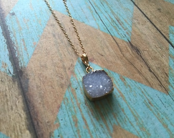 Light Blue Square Druzy Necklace