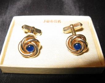Swank Cufflinks Gold Love Knot Jewelry, Cuff Links For Groom Wedding Blue Stone Vintage