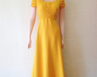 Gold Prom Dress. Long Bridesmaid Dress.