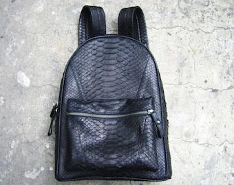 BASIC BACKPACK - Basic Jet Black Python Leather Snakeskin Backpack Bag