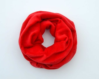 Red fleece scarf, cowl scarf, infinity scarf, gift for him, chunky scarf, christmas scarves, fleece cowl, men's fashion, dad present