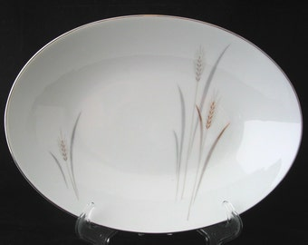 Fine China of Japan Platinum Wheat Oval Vegetable Bowl Vintage 1950s / 1960s Max Schonfeld