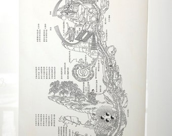 Chinese Taoist Scroll, Neijing tu: Diagram of Internal Pathways