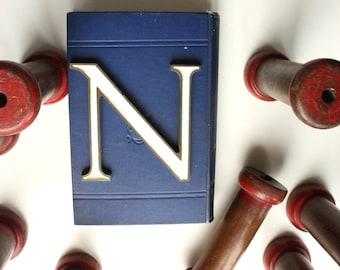 White Enamel filled Letter N. Industrial decor