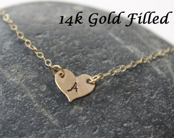 Gold heart initial necklace - 14k gold filled initial necklace