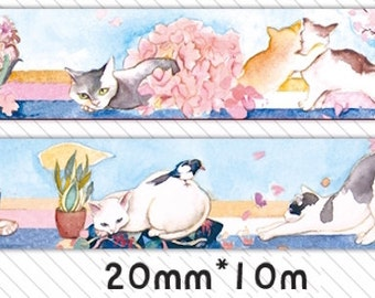 1 Roll Limited Edition Washi Tape: Cats in Garden