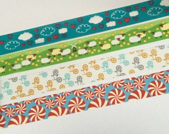 1 Roll Japanese Washi Tape (Pick 1) -Clouds with Heart,  Sheep Everywhere, Bicycles, or Cinnamon Candy