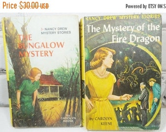 On Sale Price Nancy Drew Mystery Stories. Vintage Hardback Set of Two. Circa 1960 and 1965.  Nursery Decor. Baby Shower Gift. Photo Prop. Li