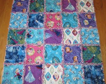 "FROZEN Fabric Rag Quilt Elsa Anna Olaf Baby / Toddler size 33"" x 33"""