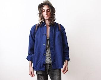 Vintage 1960s Work Jacket Bleu De Travail Workers Jacket Work Wear Summer Clothing Industrial