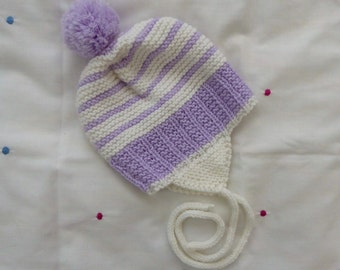 Soft merino wool earflap hat   hand knit purple and white pompom hat for baby 6-12 months   baby girls striped Winter hat