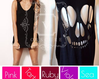 SKULL oversized cut black tank with grinning plus size sugar skull cut out ripped back vest top