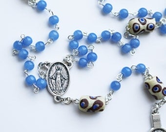Contemporary Handmade Rosary--Beads--Catholic--Gift for Him--Boho--Confirmation--Prayer--African Trade Beads--Quartzite--Vintage--Blue--Hope