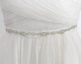 Thin rhinestine bridal belt, thin crystal wedding belt, rhinestone sash, crystal sash