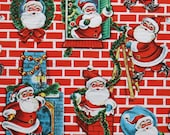 Vintage Kaycrest CHRISTMAS Gift Wrap - Wrapping Paper - Here Comes SANTA! - with coordinating gift tag - 1960s