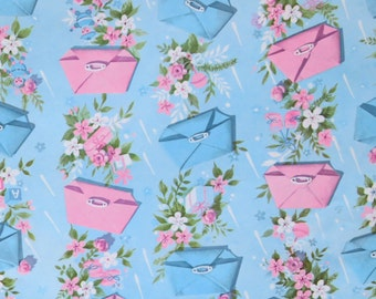 Vintage Pleasant Thoughts for BABY Gift Wrap - Wrapping Paper - Pink and Blue DIAPERS - 1960s