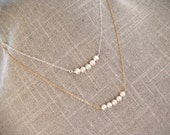 Pearl Bar Necklace - Freshwater Pearl Layering Necklace - Row of Pearls Sterling or 14K Gold Filled - Bridesmaid Necklace, June Birthstone