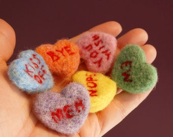 Anti Valentine Felted heart candies with snarky messages