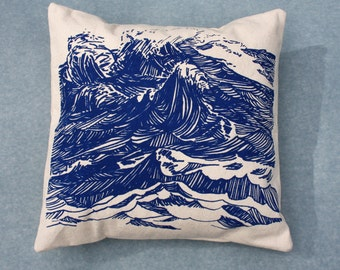 Canvas throw pillow with screen printed ultramarine blue waves