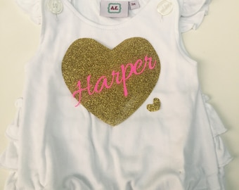 Personalized Baby Girls Ruffle Baby Romper - embroiderer pearl nickles-  with stain bow- So sweet.