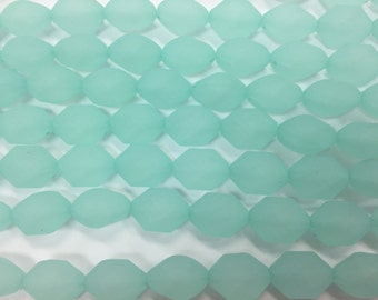 13x18mm hexagon acrylic frosted sea glass beads, 18beads,