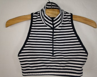 black and white striped high neck top size S/M