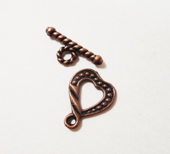 Copper Toggle Clasps 18mm Antique Copper Heart Toggle Clasps, Toggles, Toggle Closures, Jewelry Findings, Copper Clasps, 10 Sets (20pcs)