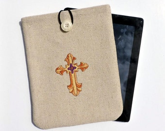iPad Case, iPad Sleeve with cross motif,  tablet case, tablet cover, iPad Cover, iPad Pouch, iPad sleeve