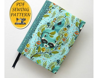 Notebook cover sewing pattern, A5 Journal cover pattern, Book cover tutorial. Book jacket, PDF download