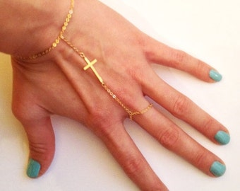 Valentines Day Gift Sale 16K Gold Plated Slave Bracelet with Cross