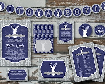 Navy Deer and Arrow Baby Shower Invitation PLUS 2 extras