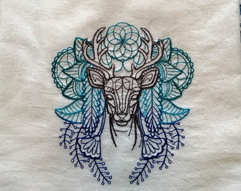 Spirit Deer Embroidered Flour Sack Towel, Kitchen Towel, Dish Towel, Anima Deer, Urban Threads, Shades of Blue