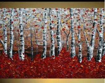 SALE Original Modern   Birch Forest   Heavy Impasto Texture    Palette Knife  Acrylic    Painting.  Size 40 x 30