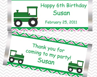 Tractor Girl Pink  - Personalized Candy Bar Wrapper