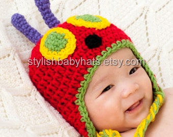 Very Hungry Caterpillar Hat, Crochet Baby Hat, Caterpillar Hat, photo prop, Inspired by The Very Hungry Caterpillar