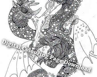 Comedy Tragedy Chameleon Dragon colouring page