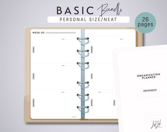 PERSONAL Size BASIC Planner BUNDLE - Printable Planner Inserts - Neat Theme - 26 sheets - fits Filofax Personal, Kikki K Medium