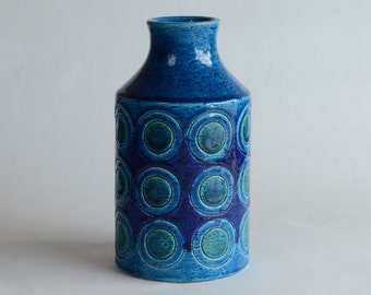 Bitossi Vase in Deep Blue and Green Colors Made in Italy