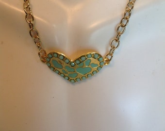 Turquoise color, Necklace, Turquoise Heart Necklace, Magnet Clasp