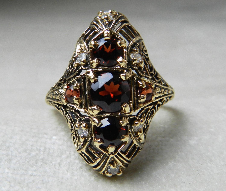 antique engagement ring garnet engagement ring 14k art deco. Black Bedroom Furniture Sets. Home Design Ideas