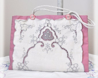 JOY! Tote, Vintage Cutwork Lace & Upcycled Dusty Pink Rose Cottage Chic Purse, Repurposed, Pockets, Pearls, Handmade OOAK