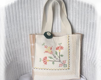 JOY! Tote! Vintage Cross-stitch made with Joy now Repurposed Joyfully into a tote to hold your JOY projects! Cottage Chic, Upcycled, OOAK!