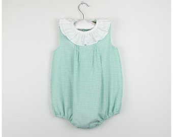Bubble Romper - Sleeveless checkered Mint green bubble romper with double ruffle collar- Available in more colors