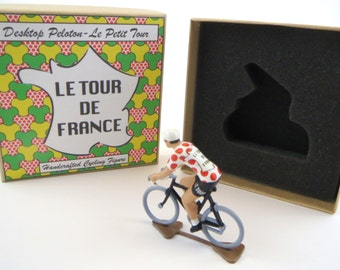 Tour De France Polka Dot Jersey Metal Cycling Figure With Gift Box Hand Painted Peloton Cycling Figure Gift for Cyclist
