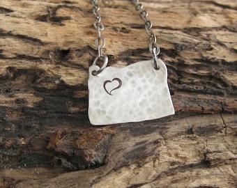 Sterling silver I love Oregon necklace custom