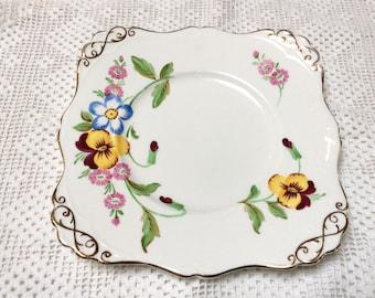 Vintage Bone China Cake Plate, Tuscan Fine English Bone China, Square Cake Plate, Pretty Pansey Pattern