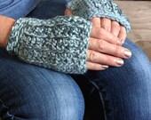 Blue Fingerless  Gloves ....