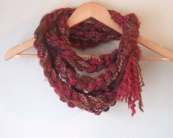 Boho Scarf Necklace .. OOAK .. Crochet Scarf .. Red Scarf .. Brown Scarf .. Chunky Chain Scarf .. One of a Kind