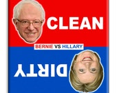 Guajolote Prints Clean Dirty Dishwasher Magnet Sign Bernie vs Hillary 2.5 x 2.5 inches
