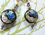 Black Floral Cloisonne Earrings & Butterfly